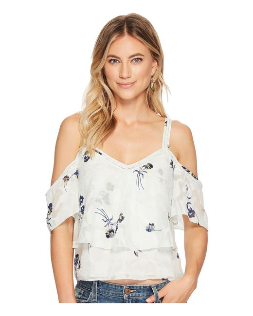 158eeb70e438bf Lucky Brand - Multicolor Floral Cold Shoulder Top - Lyst ...