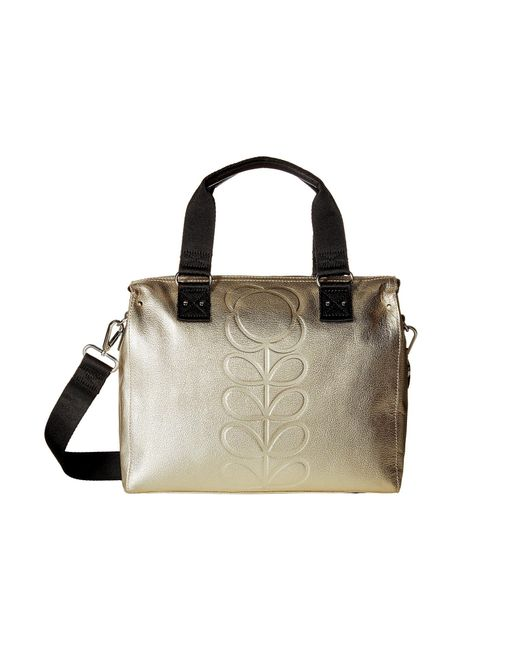 Orla Kiely - Metallic Embossed Flower Stem Leather Zip Messenger - Lyst