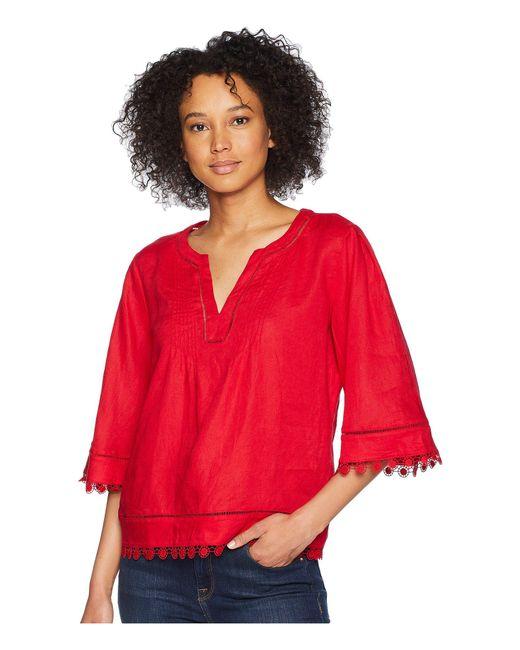 Lauren by Ralph Lauren - Red Lace-trim Tissue Linen Top - Lyst