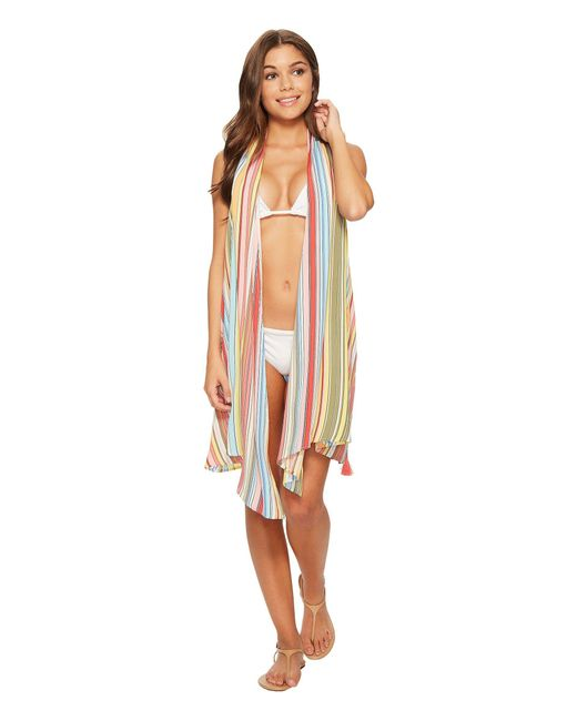 Vince Camuto - White Cabana Stripes Wrap Cover-up Dress - Lyst