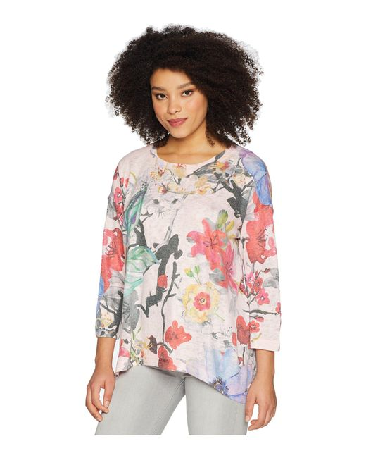 Nally & Millie - Pink Handpainted Floral Top - Lyst