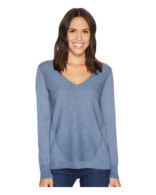 NYDJ - Blue Double V-neck Sweater - Lyst