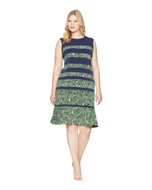 MICHAEL Michael Kors - Green Plus Size Paisley Paneled Sleeveless Dress - Lyst