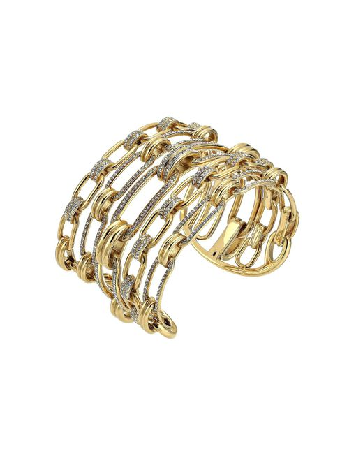Michael Kors - Metallic Iconic Link Pave Open Cuff Statement Bracelet - Lyst