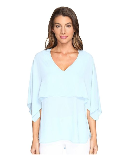 Karen Kane - Blue V-neck Double Layer Top - Lyst