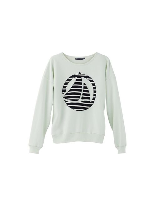 Petit Bateau   Green Women's Plain Brushed Fleece Sweatshirt With Striped Logo Patch   Lyst