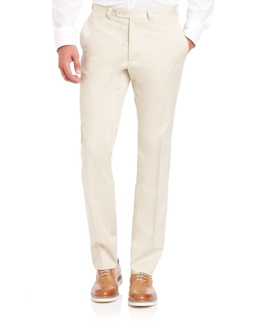 Saks Fifth Avenue | Natural Stretch Cotton Trousers for Men | Lyst