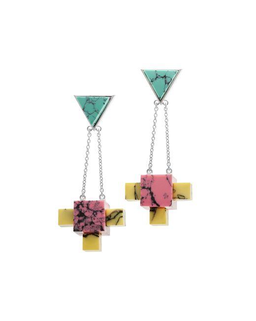 Eshvi   Multicolor Back To School Marble Chandelier Earrings   Lyst