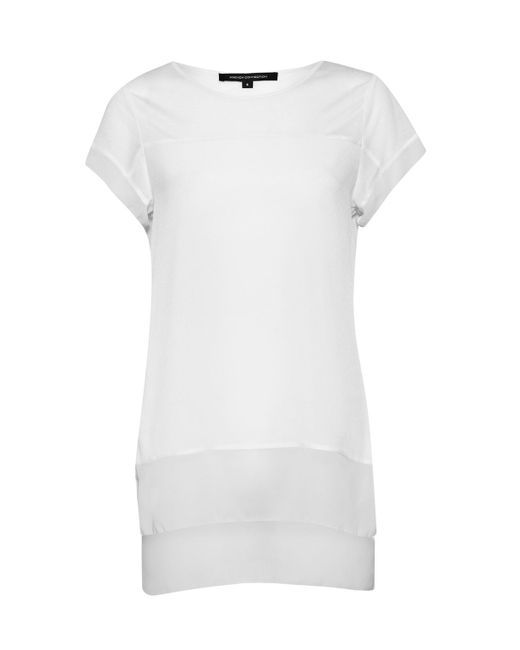 French Connection | White Polly Raw Edge Top | Lyst