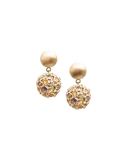 Trésor | Metallic Multi Sapphire Dangling Ball Earring In K Yellow Gold | Lyst