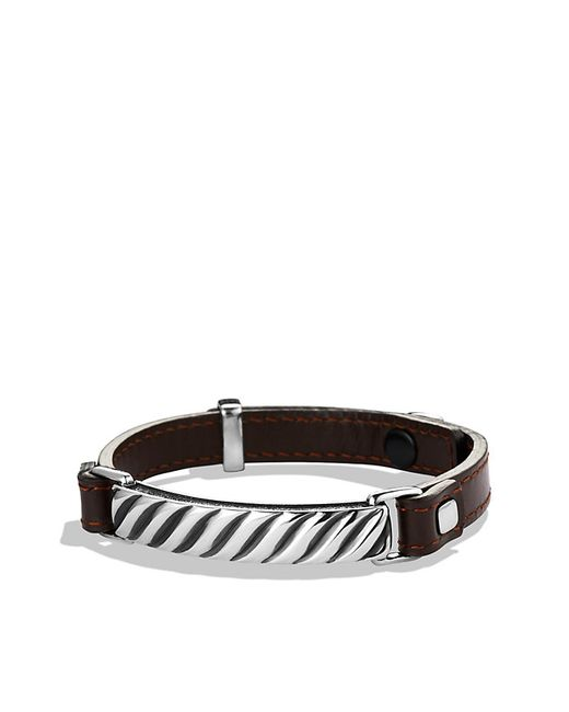 David Yurman | Modern Cable Id Bracelet In Brown Leather for Men | Lyst