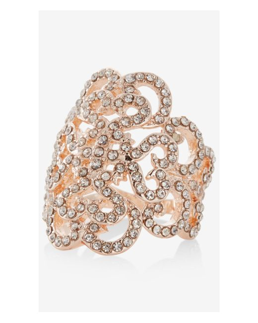 Express | Pink Pave Filigree Scroll Ring | Lyst