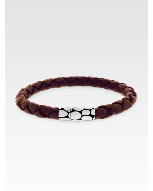 John Hardy | Brown Woven Leather Bracelet for Men | Lyst