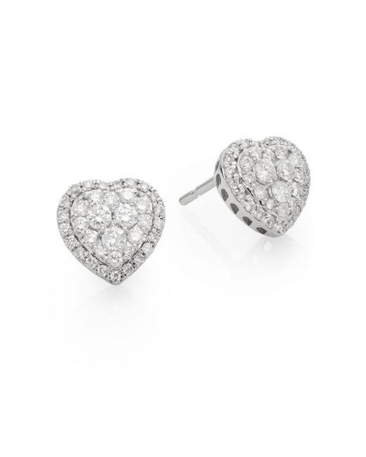 Saks Fifth Avenue   Metallic 0.51 Tcw Diamond & 14k White Gold Heart Stud Earrings   Lyst