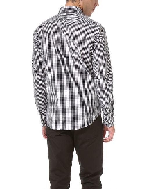 Theory sylvain gingham dress shirt in black for men lyst for Gingham dress shirt men