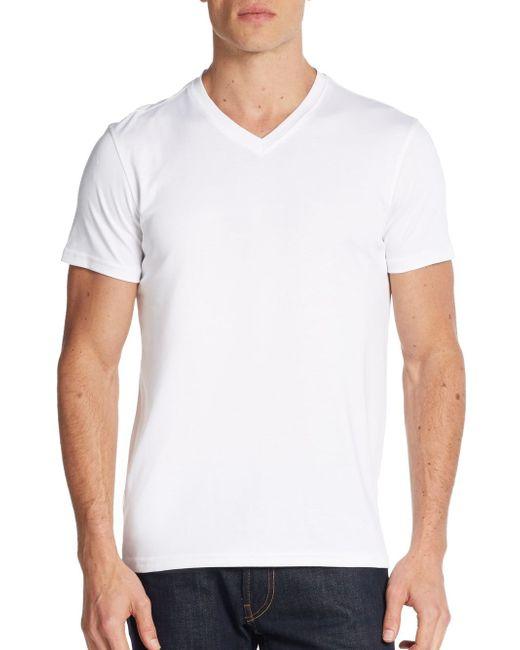 Saks Fifth Avenue | White Pima Cotton V-neck Tee for Men | Lyst