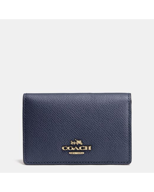 Coach business card case in crossgrain leather in blue for Business card holder coach