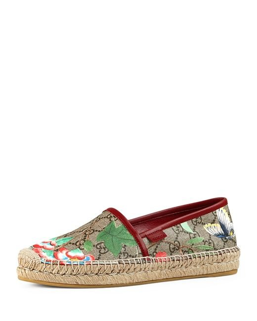 Gucci Pilar Tian Gg Supreme Espadrille in Red | Lyst