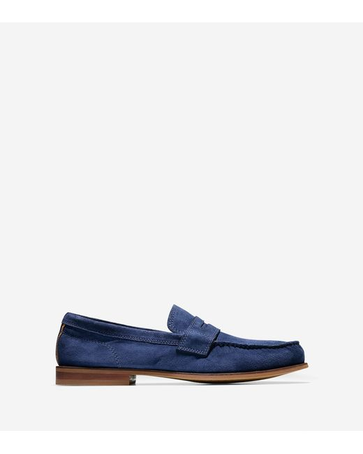 cole haan topsail suede loafers in blue for