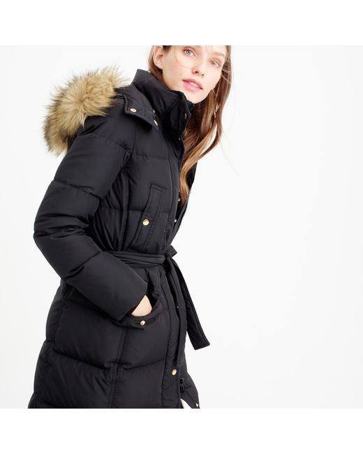 J.Crew | Black Petite Wintress Puffer Coat With Faux-fur Hood | Lyst