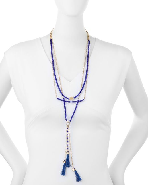 Lydell NYC | Blue Multi-strand Layered Tassel Necklace | Lyst