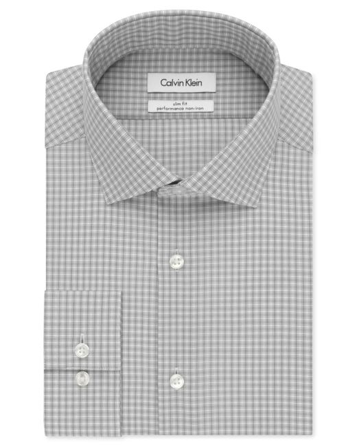 Calvin klein steel slim fit non iron performance grey for Calvin klein athletic fit dress shirt