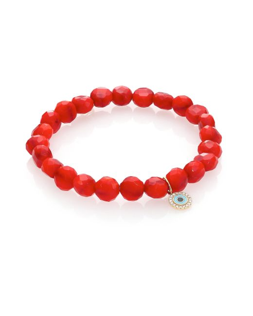 Sydney Evan | Red Pave Xo Hot Pink Chalcedony Bead Bracelet with Black Diamonds | Lyst