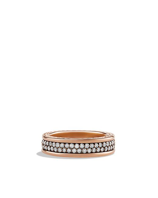 David Yurman | Pink Streamline Two-Row Band Ring In Rose Gold for Men | Lyst