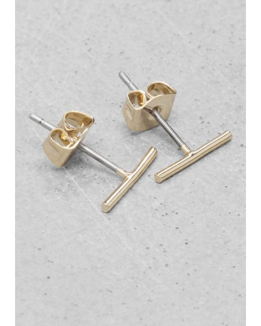 & Other Stories | Metallic Thin Bar Studs | Lyst