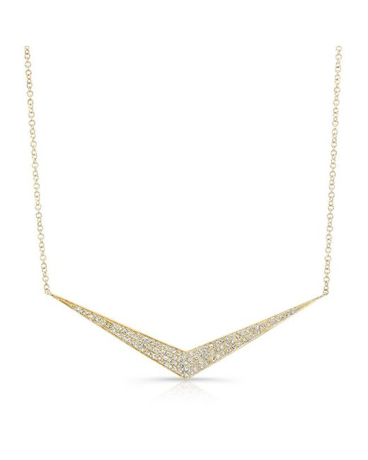 Anne Sisteron - Metallic 14kt Yellow Gold Diamond Chevron Necklace - Lyst