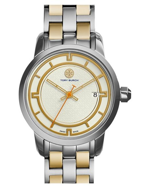 Tory Burch | Metallic 'tory' Small Round Bracelet Watch | Lyst