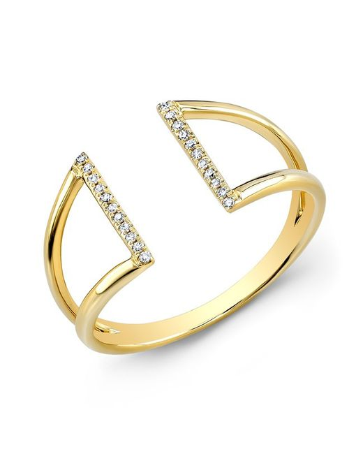 Anne Sisteron | Metallic 14kt Yellow Gold Diamond Space Ring | Lyst