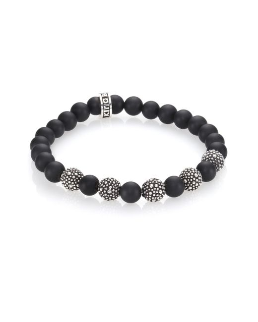 King Baby Studio | Metallic Black Onyx & Sterling Silver Bracelet for Men | Lyst
