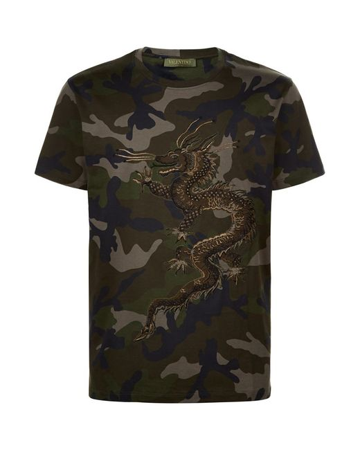 Valentino Embroidered Dragon Camo T Shirt In Blue For Men