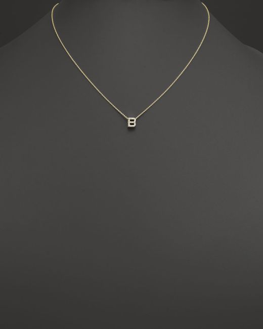 Roberto Coin | Metallic 18k Yellow Gold And Diamond Initial Love Letter Pendant Necklace, 16"