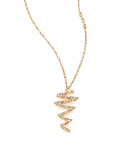 Phyne By Paige Novick | Metallic Ines Scribble Pave Diamond & 14k Yellow Gold Pendant Necklace | Lyst