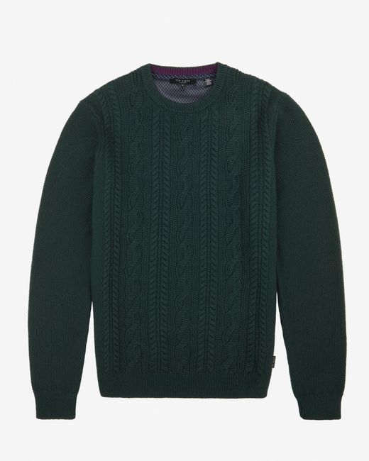 Ted Baker | Green Cable Knit Jumper for Men | Lyst