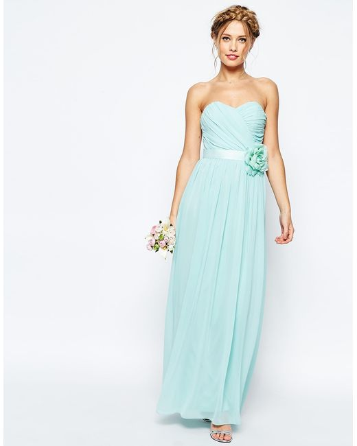 Asos Wedding Chiffon Maxi Bandeau Dress With Detachable