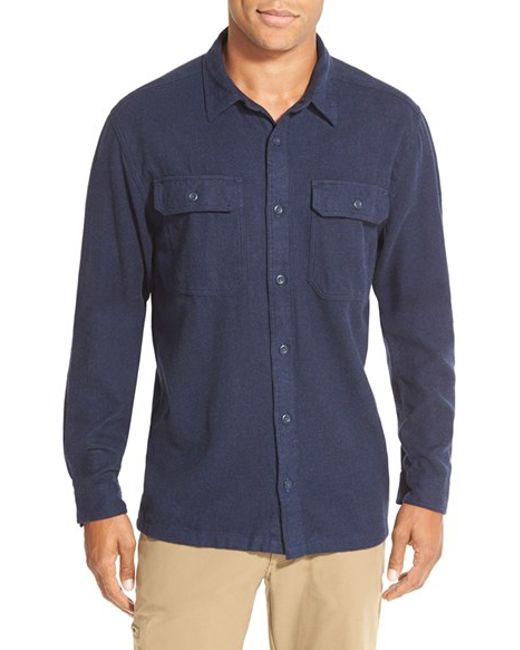 Patagonia | Blue 'fjord' Regular Fit Organic Cotton Flannel Shirt for Men | Lyst