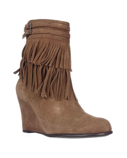 aerosoles plumming bird fringe wedge ankle boots in brown