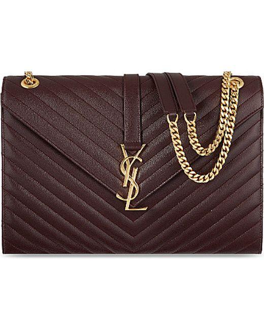 yves saint laurent chyc large patent flap shoulder bag - yves saint laurent college monogram quilted leather shoulder bag ...