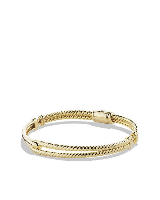 David Yurman | Metallic Petite Pavé Labyrinth Single-loop Bracelet In 18k Gold, 7mm | Lyst