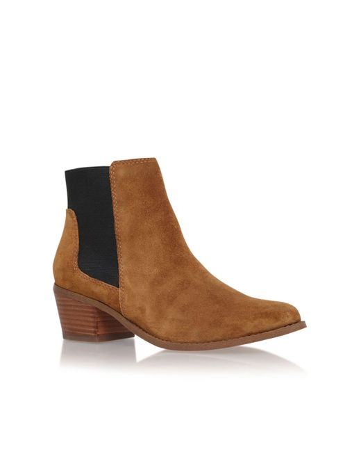 Miss Kg | Brown Spider Low Block Heel Ankle Boots | Lyst