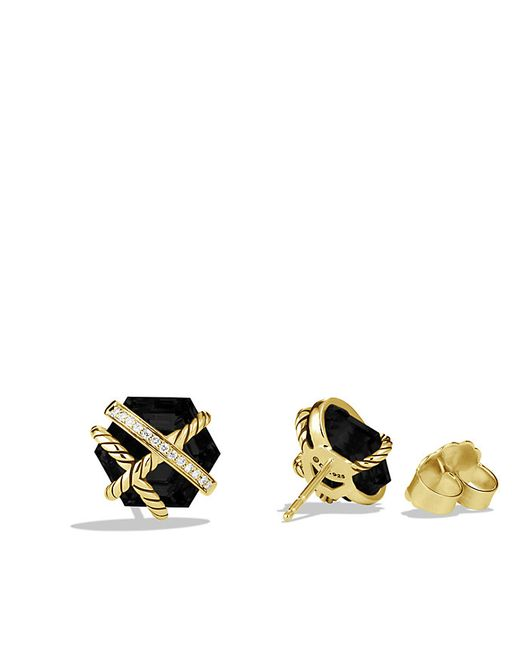 David Yurman   Cable Wrap Earrings With Black Onyx And Diamonds In 18k Gold, 10mm   Lyst