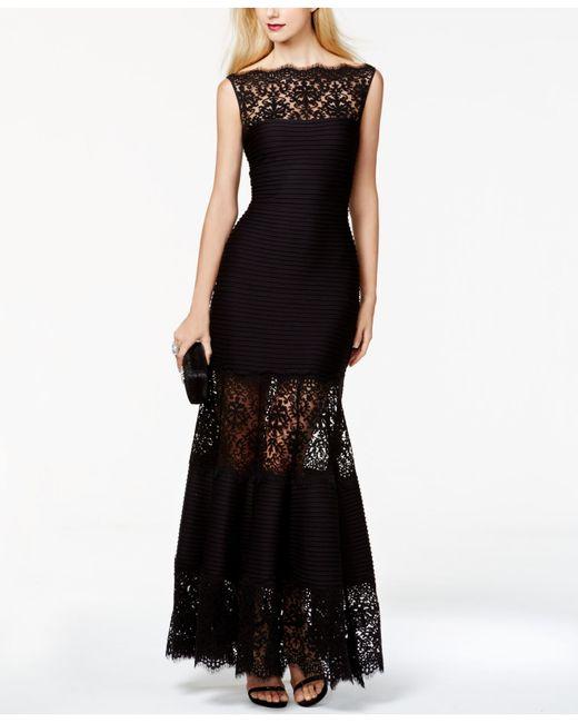 Tadashi Shoji | Black Cap Sleeve Lace Illusion A-line Gown | Lyst