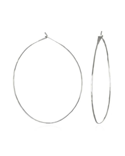 Phyllis + Rosie | Metallic Hammered Hoop Earrings - Silver | Lyst
