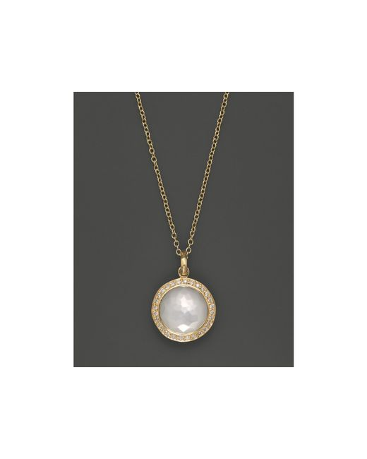 Ippolita | Metallic 18k Yellow Gold Mini Lollipop Pendant Necklace In Mother-of-pearl With Diamonds | Lyst