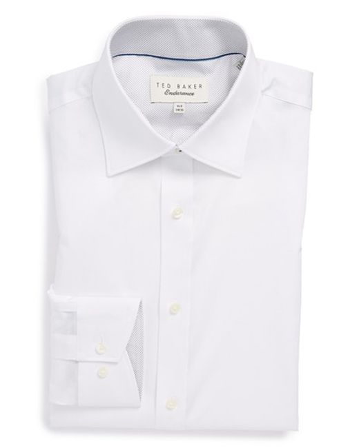 Ted Baker | White 'oncore' Trim Fit Micro Stripe Dress Shirt for Men | Lyst