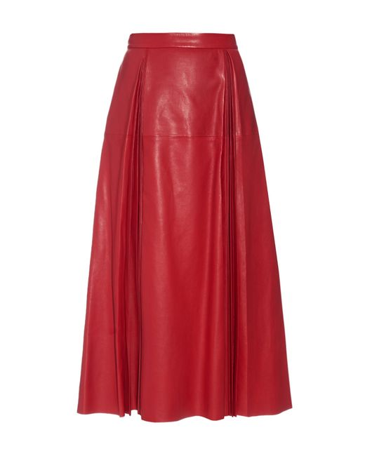 gucci pleated leather midi skirt in lyst