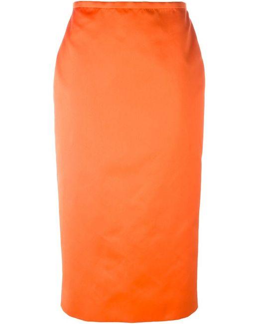 rochas midi pencil skirt in orange yellow orange